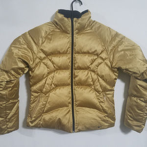 Nike Womens Medium Gold Down Puffer Jacket Coat